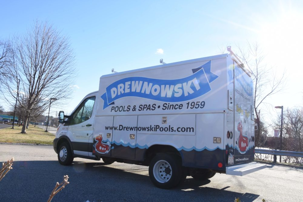 This is a photo of the Drewnowski Pool & Spa service truck,