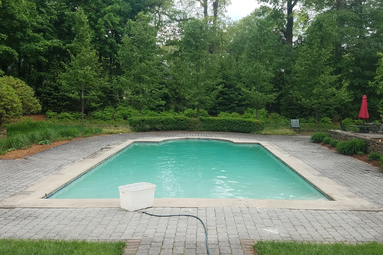 This is a photo of a gunite inground pool restoration complete in Longmeadow, Mass