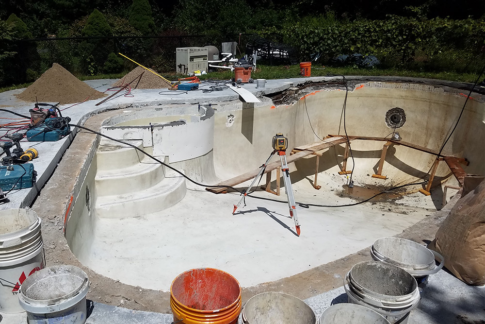This is a photo of a pool gunite restoration project in Granby, CT.