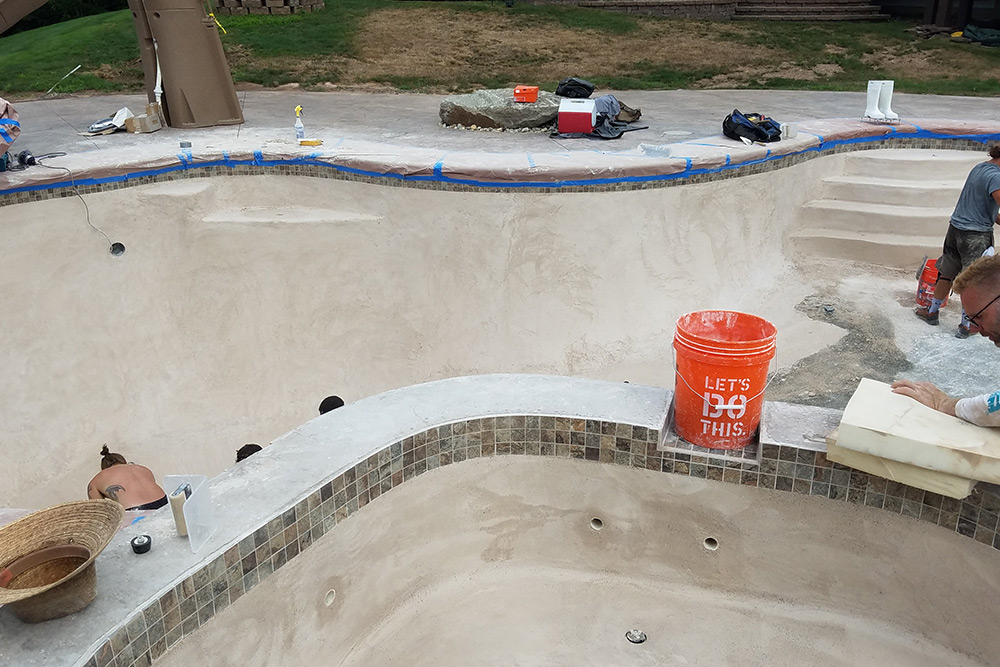 This is a photo of a pool gunite replastering project in Somers, CT.