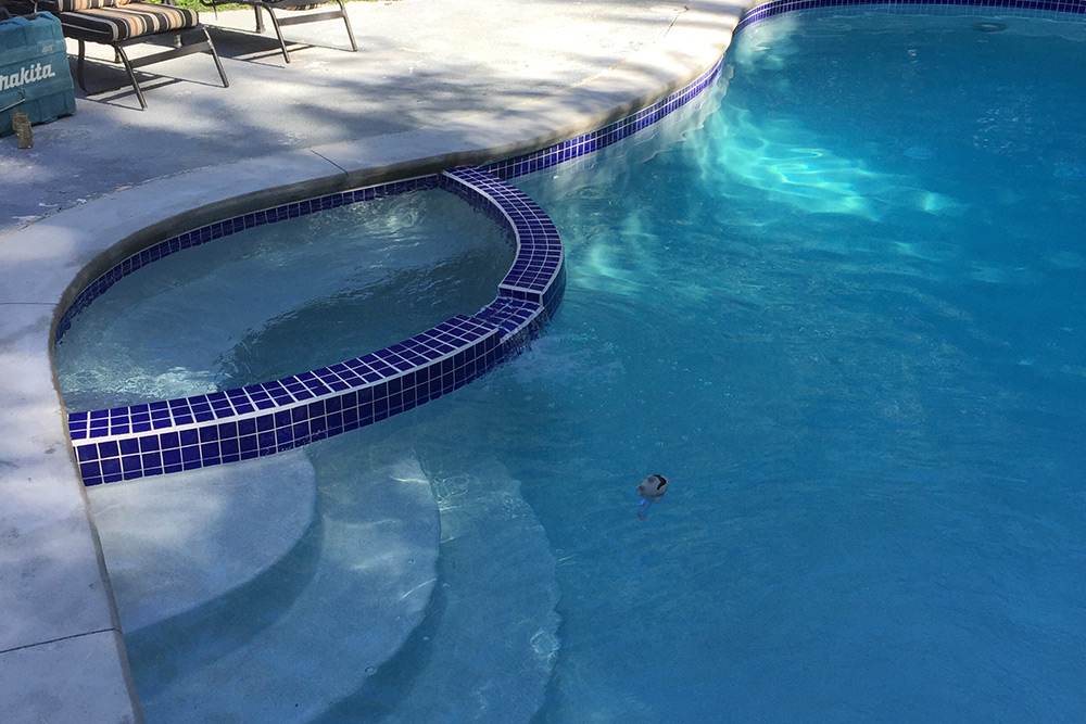 This is a photo of a pool gunite restoration project in Granby, CT, finished product.
