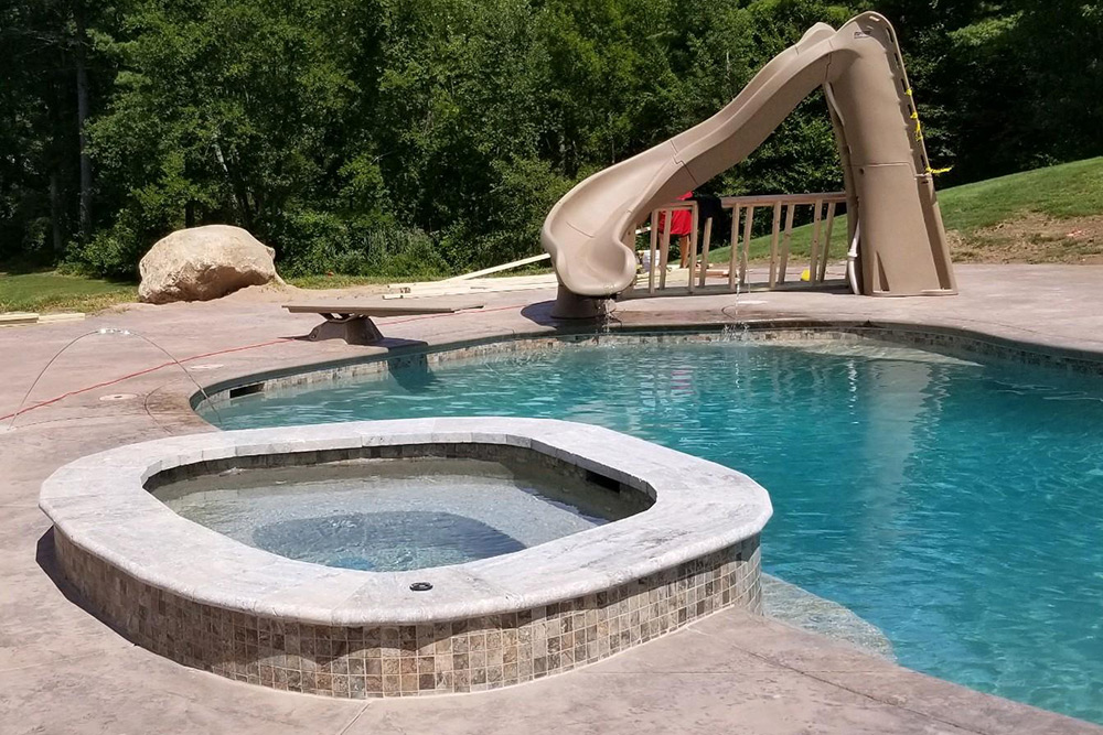 This is a photo of a pool gunite replastering project in Somers, CT, the finished result.